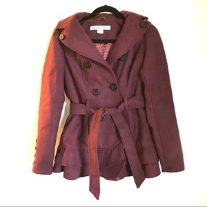 Celebrity Pink double breasted hooded pea coat